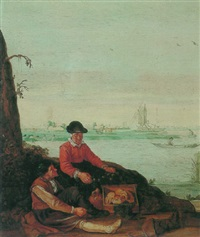 fisherfolk on the banks of an estuary with rowboats, bathers and a windmill beyond by arent (cabel) arentsz