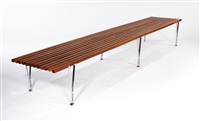 suspended beam slat bench by hugh acton