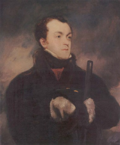 portrait of captain lyon rn in a fur trimmed coat holding a gun by john jackson