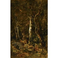 forest landscape with figure by lászló paál
