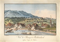 vue du bourg de richtenschweil (richterswil) dessiné d'après la nature (engraved by j.h. brupbacher) by cura hofmeisterj