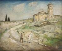 l'ânier quittant le village by emile gastemans