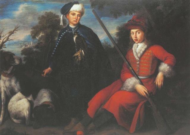 portrait de ferdinando de médici accompagné de son frère gian gastone en tenue de chasse by anton domenico gabbiani