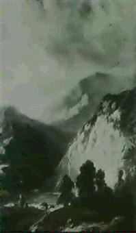 mountainous landscape with figures by paul j. lauters