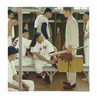 the rookie (red sox locker room) by norman rockwell