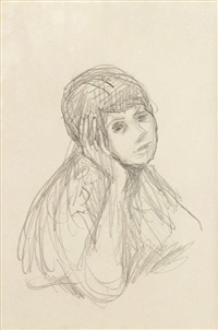 le corsage rouge (marthe bonnard) (preparatory study) by pierre bonnard