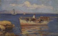 fishermen in a boat by stelios miliadis