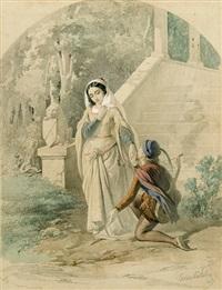 corteggiamento in abiti medievali by cesare bartolena