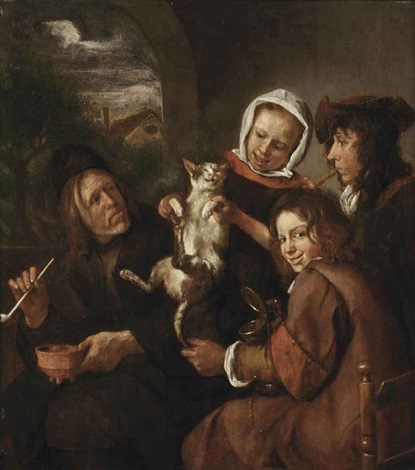 children teasing a cat by jan steen
