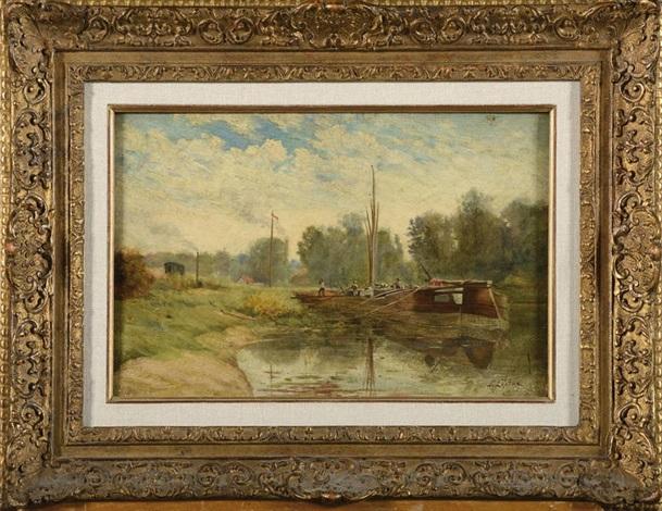 le déchargement de la péniche en bord de canal by stanislas lépine