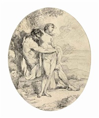 a satyr embracing a woman by john hamilton mortimer
