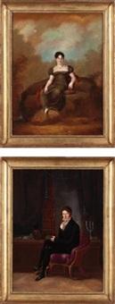 madame rousset dans un paysage bucolique (+ monsieur rousset dans sa bibliothèque; 2 works) by joseph reinhart