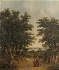 figures on gainsborough lane with freston tower beyond by robert burrows