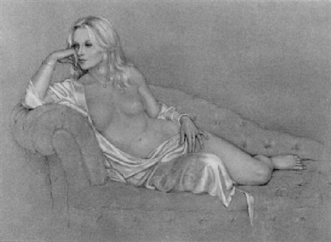 reclining nude in pink robe by victoria fontaine wolf