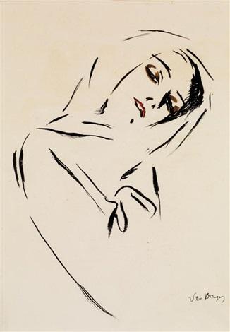 portrait de femme au foulard by kees van dongen