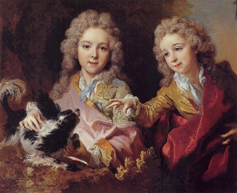 portrait of françois pommyer and yves joseph charles pommyer playing with a king charles spaniel by nicolas de largillière