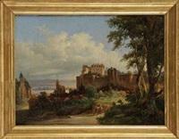 promeneurs dans un paysage de collines et couple de promeneurs près d'un château (pair) by charles caius renoux