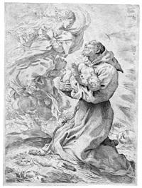 san francesco davanti alla madonna tiene in braccio gesã bambino by pietro faccini
