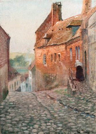 gateparti fra montreuil sur mer frankrike by frits thaulow