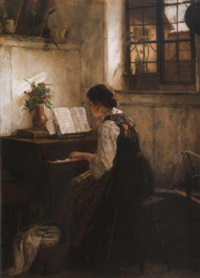 zongorázó leány (girl playing by the piano) by gustav igler