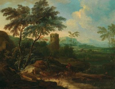 bewaldete flusslandschaft mit einem turm reitern und vielen figuren by maximilian joseph schinnagl and franz christoph janneck