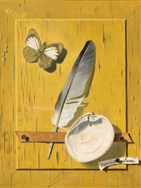 for the moment, still life with butterfly, feather and shell by darwin musselman