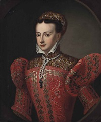 portrait of mary, queen of scots (1542-1587), half-length, in an embroidered red dress, a jewelled headdress and pearl necklace with a crucifix pendant by scottish school (18)