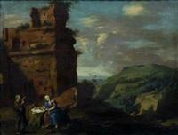 le repos de la sainte famille pendant la fuite en egypte by johan van haensbergen