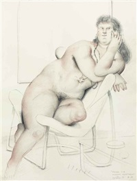 figure in a modern apartment by fernando botero