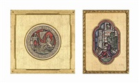 four stained glass window designs including two for red lodge, bristol (two illustrated)(4 works) by sydney harold meteyard