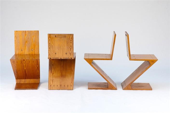 vier zigzag stühle set of 4 by gerrit rietveld