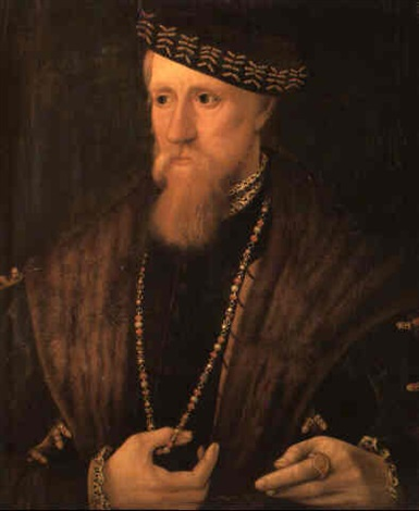 portrait of a gentleman wearing a fur cape chain and cap by steven van der meulen