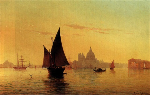 the entrance of the grand canal with la dogana and the chuch of smaria della salute venice by eugenio cecchini prichard