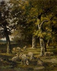 moutons dans un sous bois by charles ferdinand ceramano
