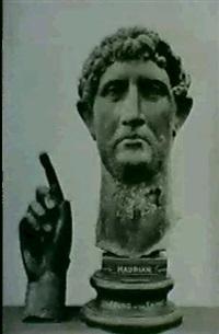 tete et mail colossales en bronze de l'empereur hadrien,  trouvees dans la tamise, british museum by w. a. mansell