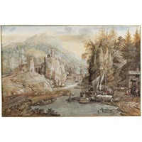 a mountainous river landscape with boats being unloaded, a hill-top church and a village in the distance by gerrit (gerard) battem