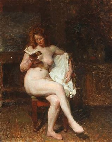 a reading female nude by julius paulsen