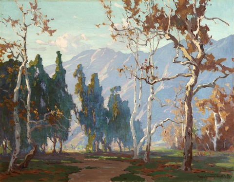 sycamores in a foothill landscape by marion kavanaugh wachtel