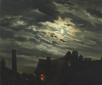 rooftops in the moonlight by hermann de boor