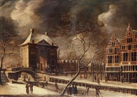the heiligewegspoort, amsterdam, from the north-east in winter, with skaters on the frozen canal by abraham beerstraten