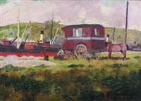 bateau à vapeur et campement by francois marie léon de marliave
