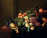 nature morte aux fruits sur un entablement by alexander coosemans