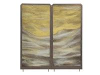 tenpei clouds and mt. fuji a folding 2 panels screen by issei yamauchi