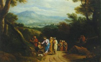 a wooded landscape with christ healing the blind man by martinus de la court