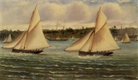 coastal view of yachts under sail by charles f. gerrard