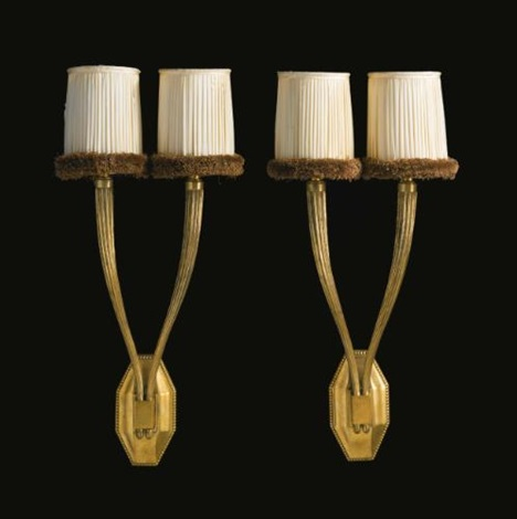 two light wall sconces model ar3033nr3666 pair by émile jacques ruhlmann