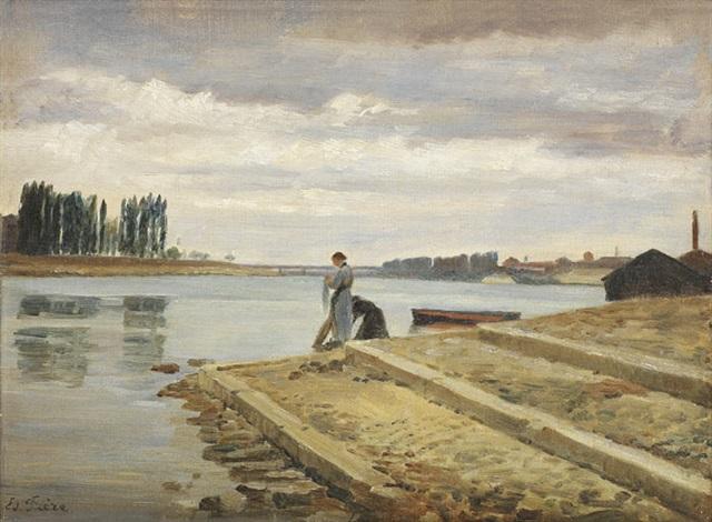 lavandières au bord de la rivière by charles edouard frère