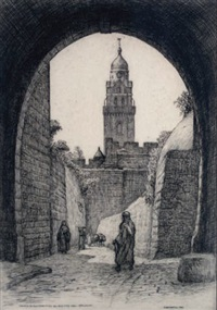 church of the dormition and old city wall, jerusalem by caroline helena armington