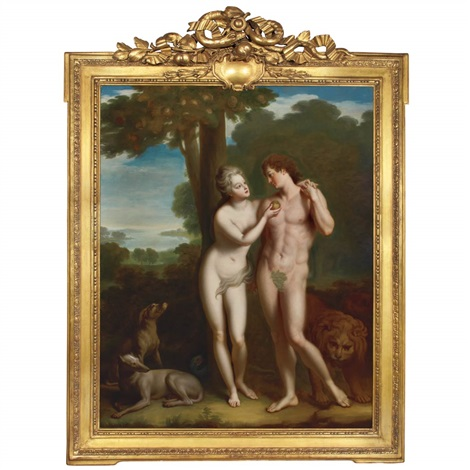 the regent philippe duc dorleans and the comtesse de parabere as adam and eve in the garden of eden by jean baptiste santerre