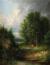 rêverie au bord du lac by gabriel hippolyte le bas